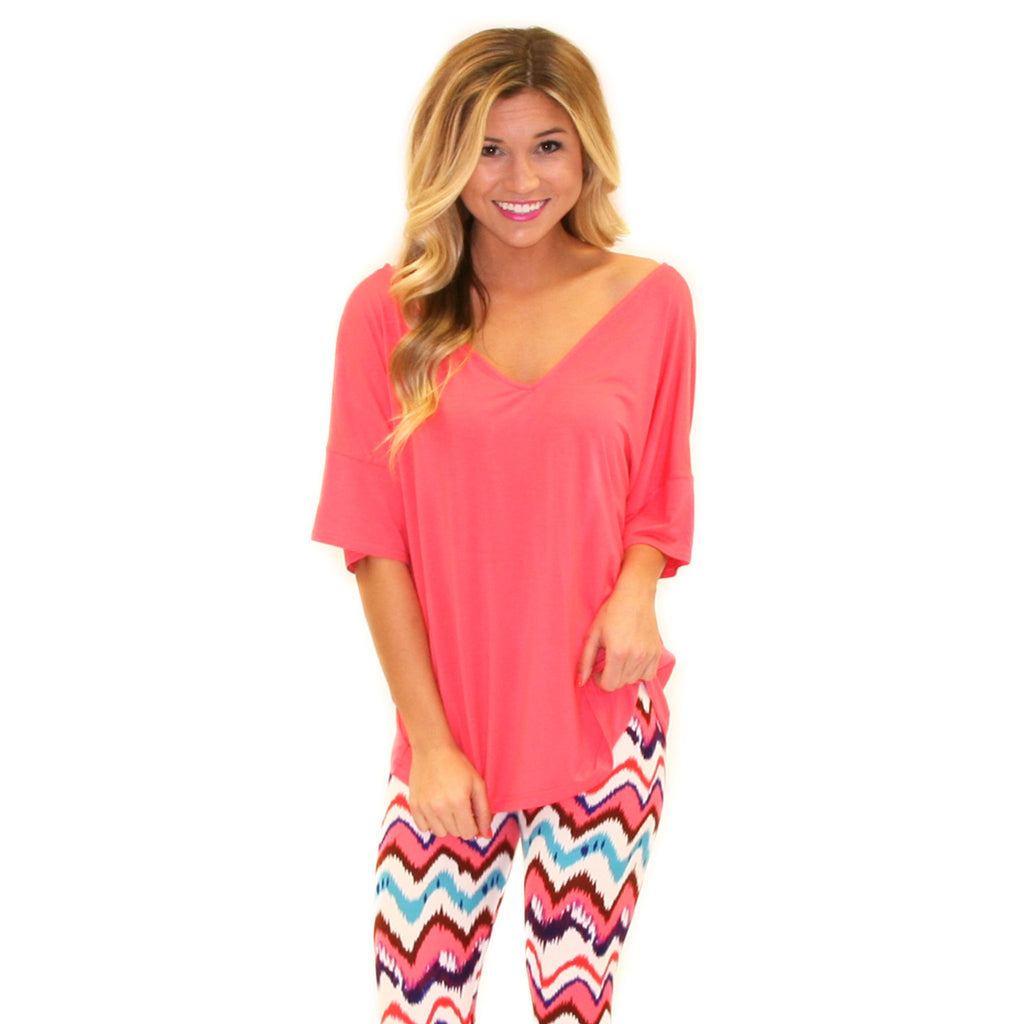 PIKO Relaxed Fit V-Neck Tee in Watermelon