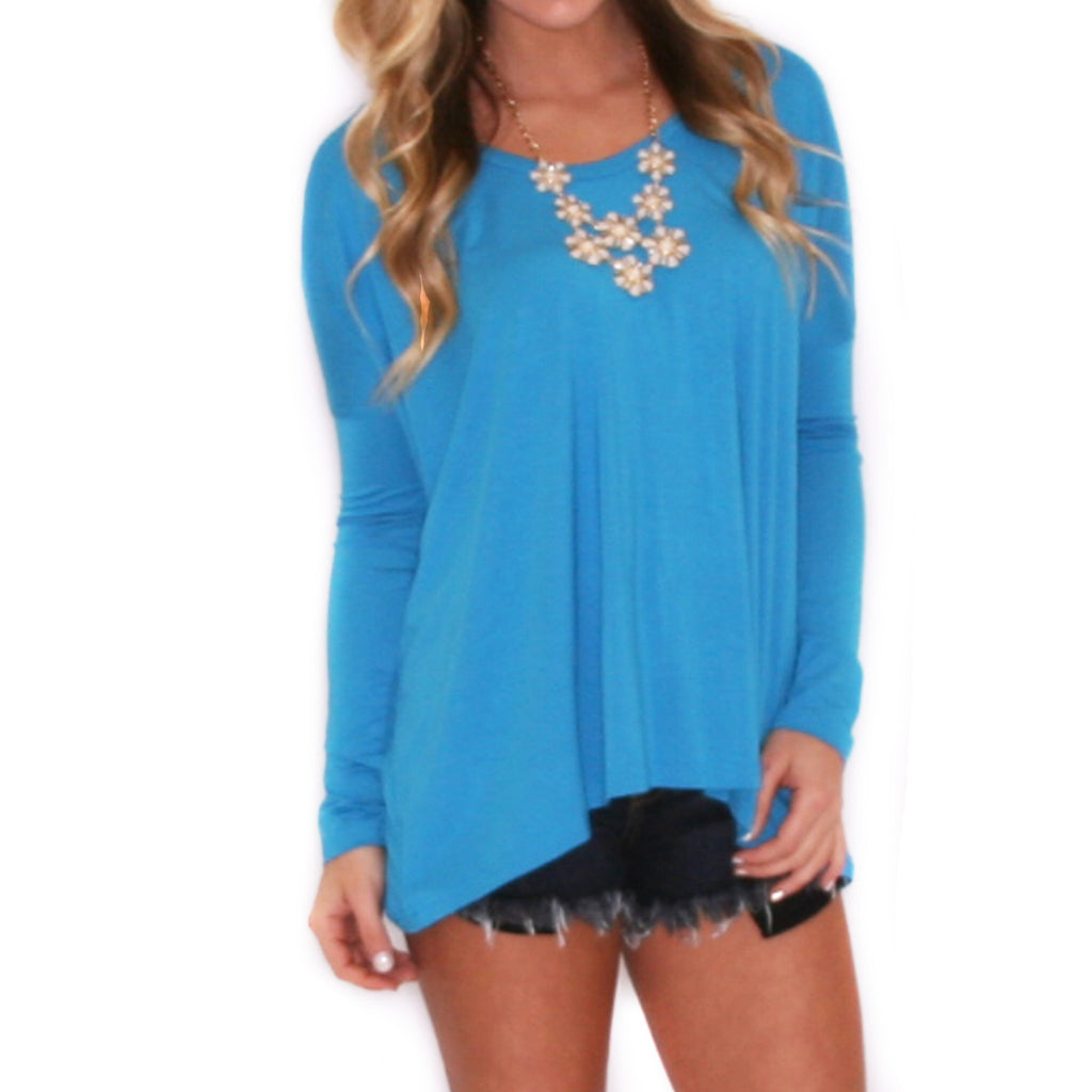 PIKO Tee Scoop Neck in Bright Blue