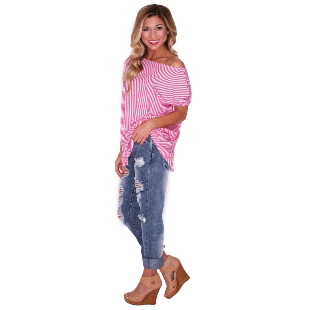 PIKO Short Sleeve Tiny Stripe Tee in Fuchsia