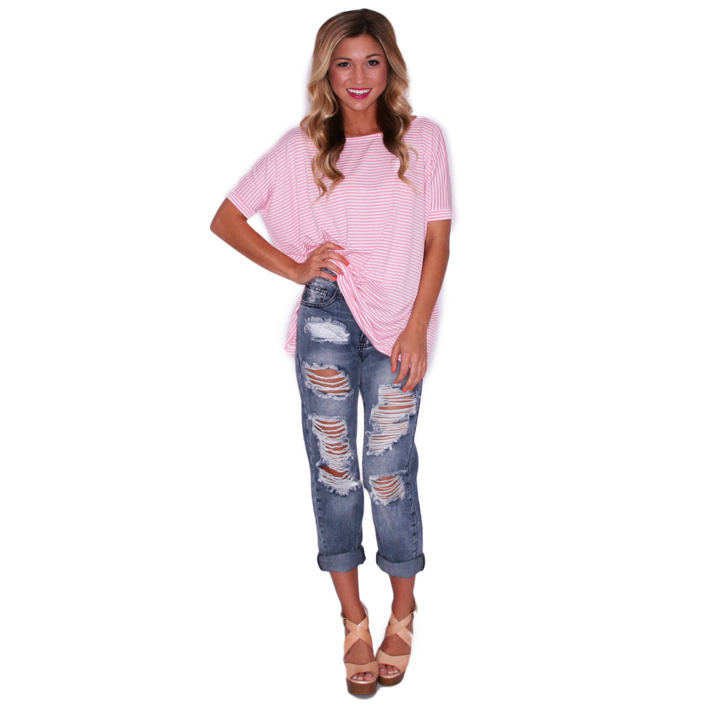 PIKO Short Sleeve Tiny Stripe in Pink