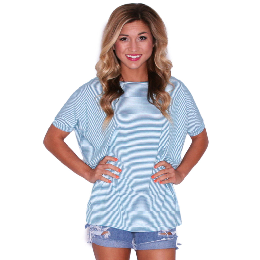 PIKO Short Sleeve Tiny Stripe Tee in Teal