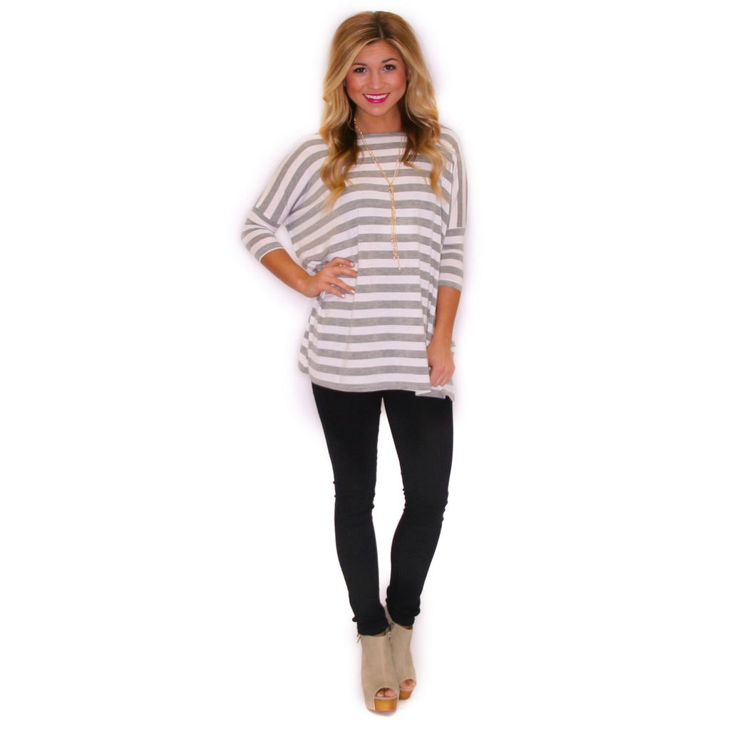 PIKO Striped Tee in Grey