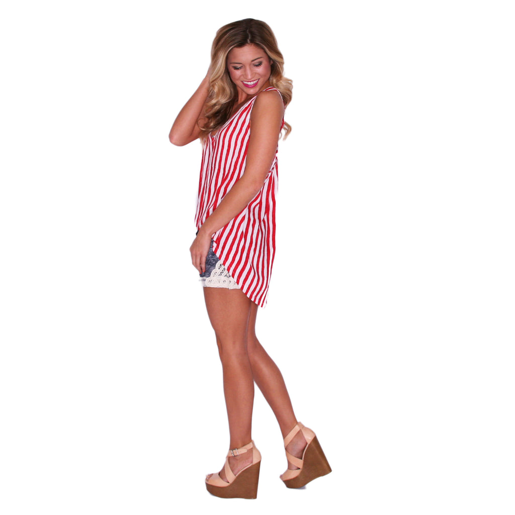 PIKO V-Neck Stripe Tank in Red