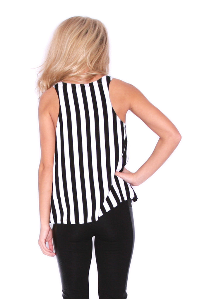 Black Stripe Piko Tank