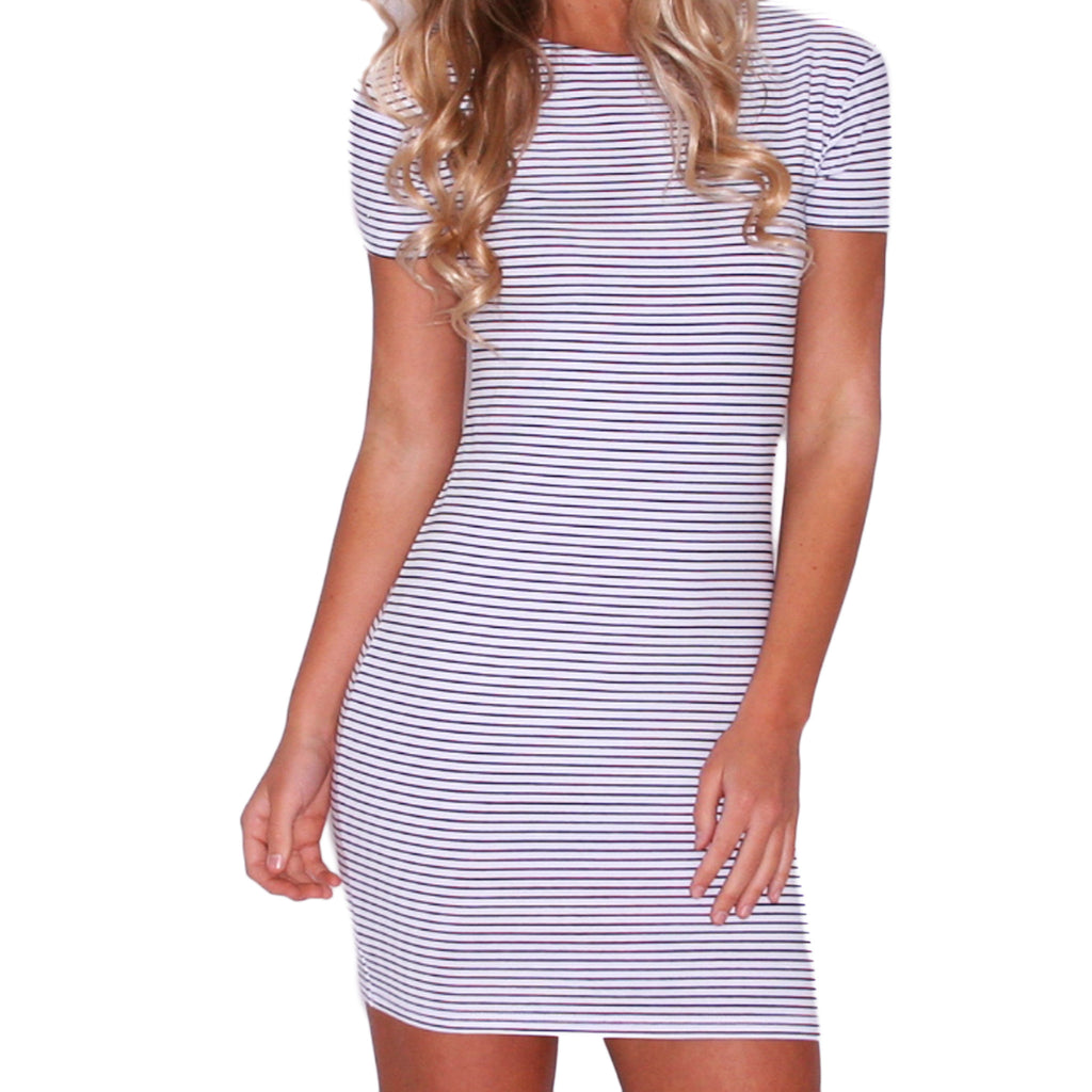 PIKO Stripe Tee Dress in White