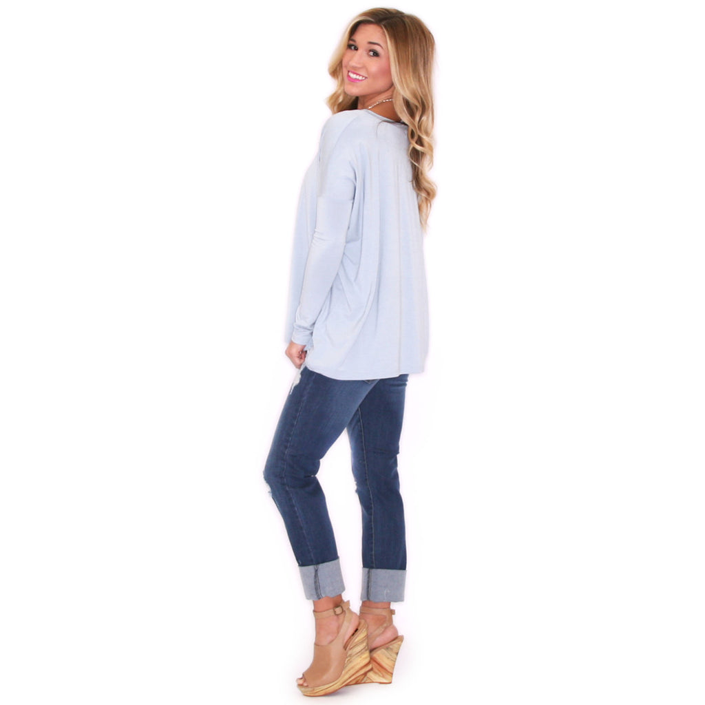 PIKO Tee Scoop Neck in Dusty Blue