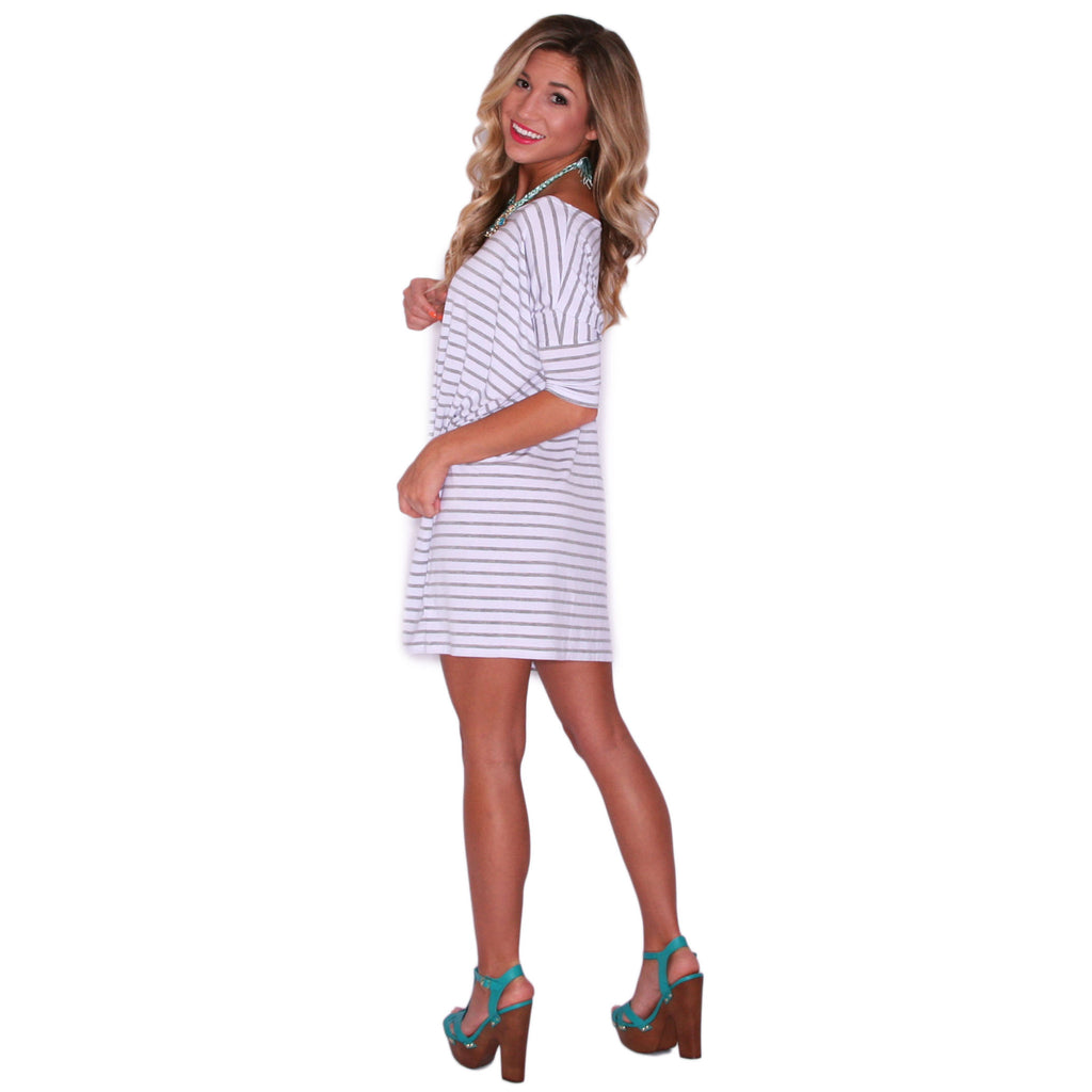 PIKO Stripe Tunic in Heather Grey