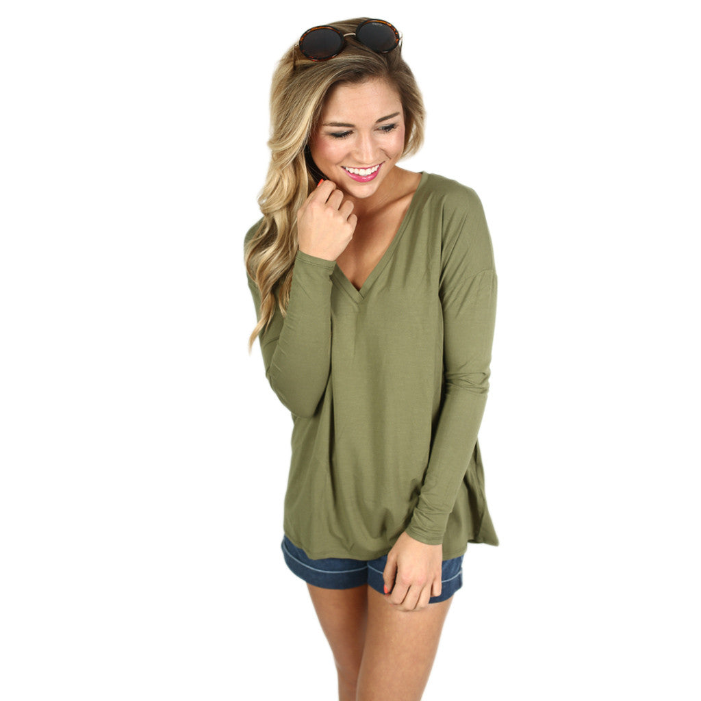 PIKO V-Neck Long Sleeve in Green