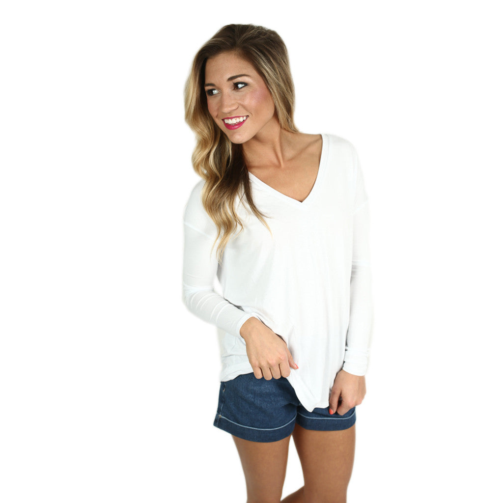 Piko V-Neck Long Sleeve in White