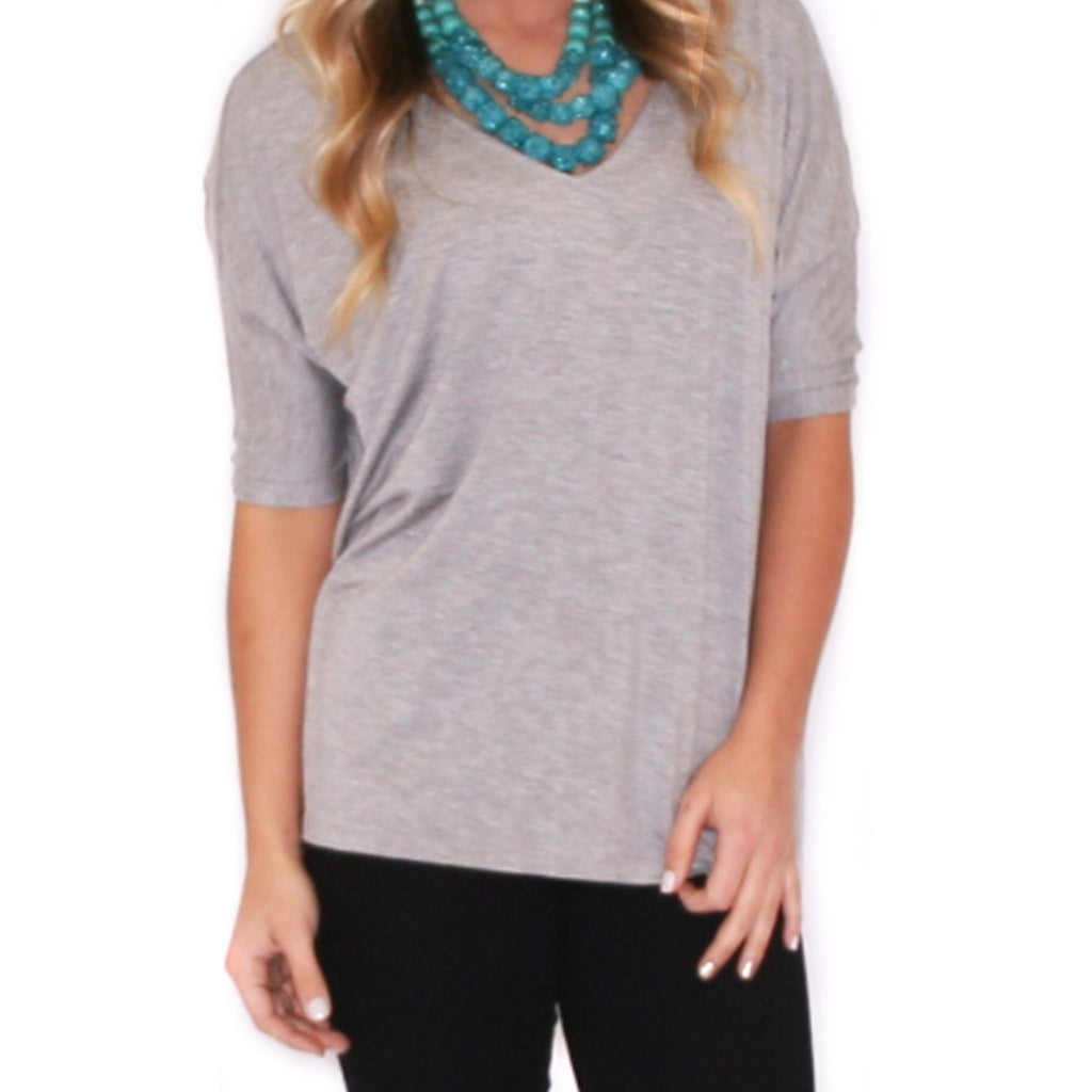 PIKO V-Neck Short Sleeve in Heather Grey