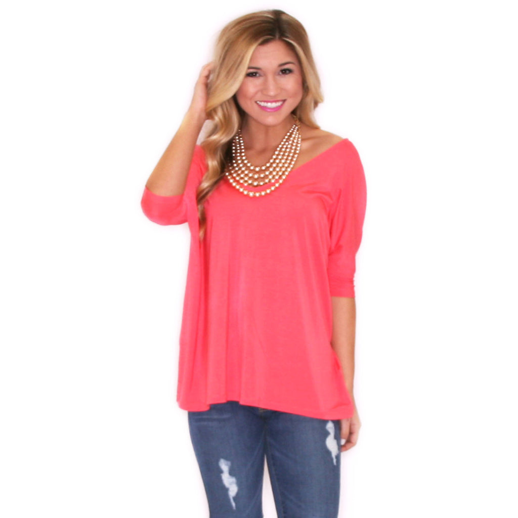 PIKO V-Neck Short Sleeve in Bright Pink