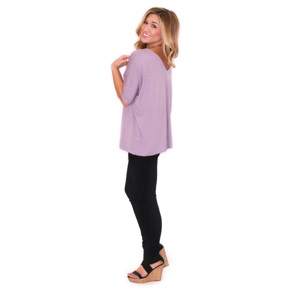 PIKO V-Neck Short Sleeve in Dusty Purple