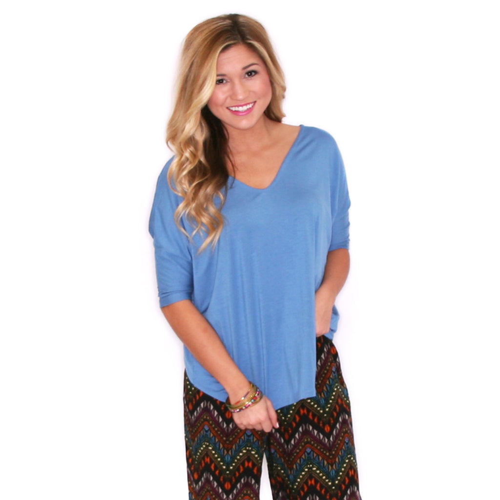 PIKO V-Neck Short Sleeve in Natural Blue