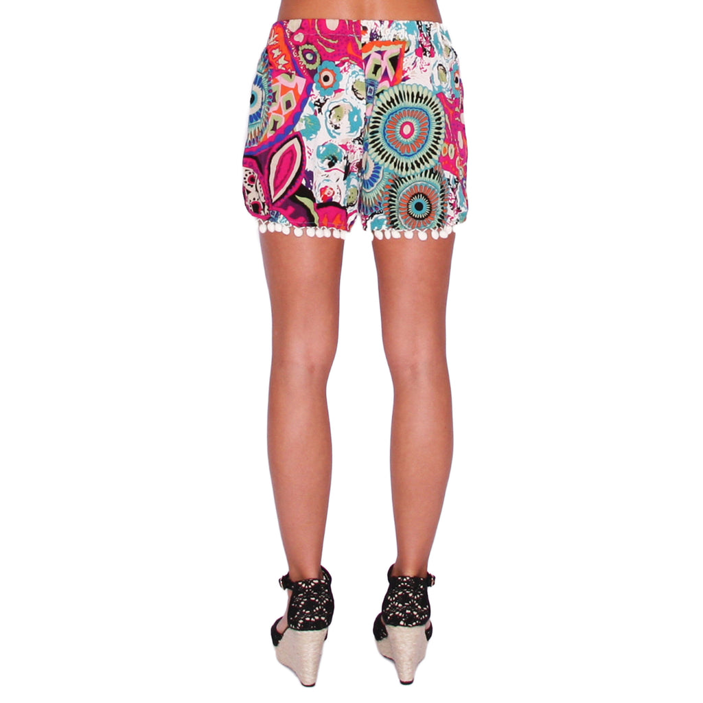Beach Bum Pom Pom Shorts in Fuchsia