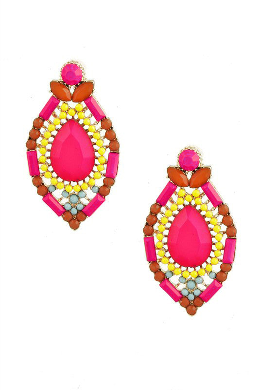 Sparkling Poolside Earrings in Fuchsia