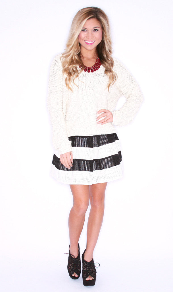Pretty Little Liners Skirt Black/Cream
