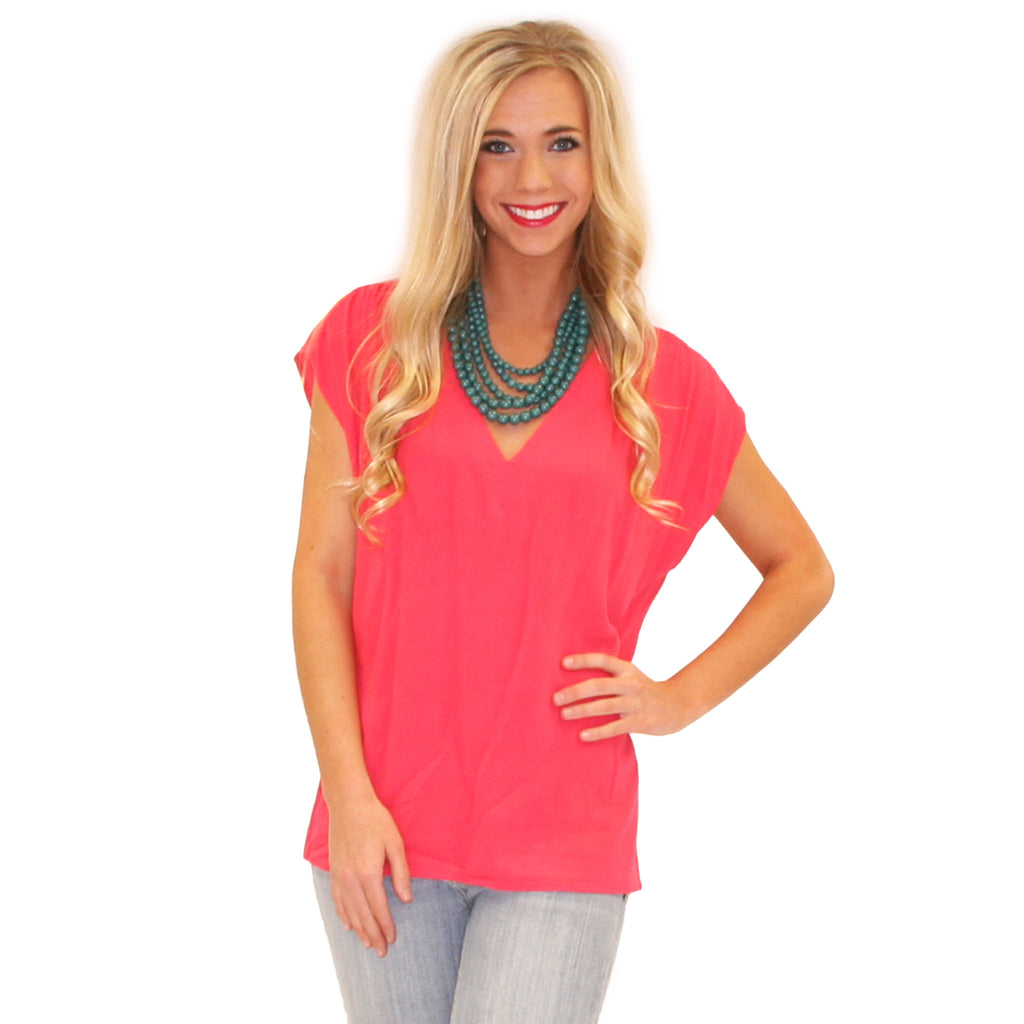 Pretty Little V-Neck Fuchsia
