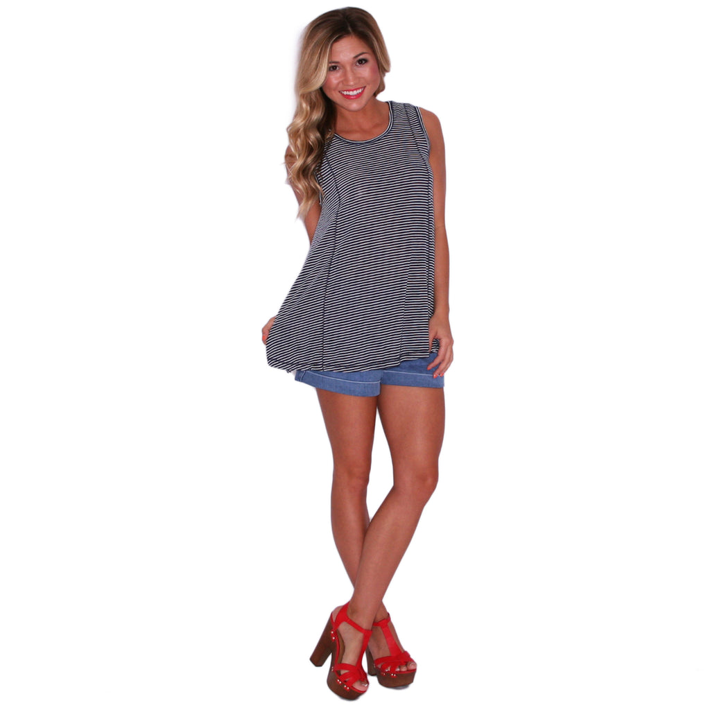 Stripe Reverse Tank in Navy