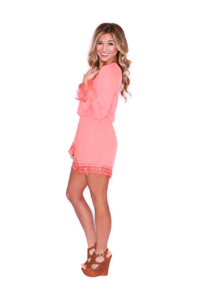 Girl Of Your Dreams Romper in Coral