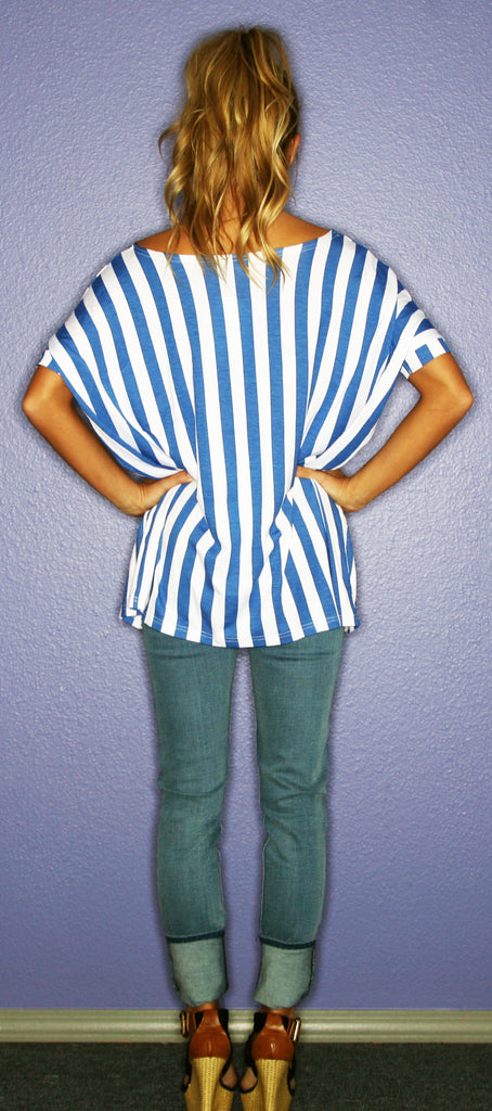 Short Sleeve PIKO Royal Blue Stripe
