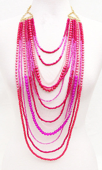 Salty Kisses Necklace in Fuchsia
