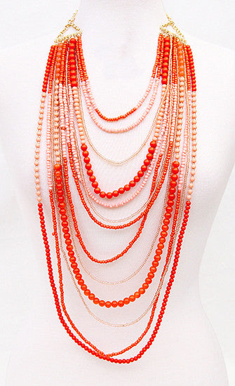 Salty Kisses Necklace in Orange