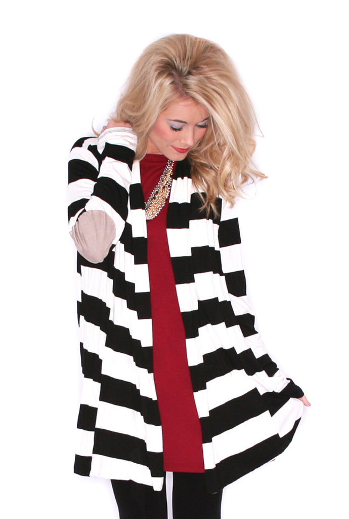 Saturday Stripes Cardi Black