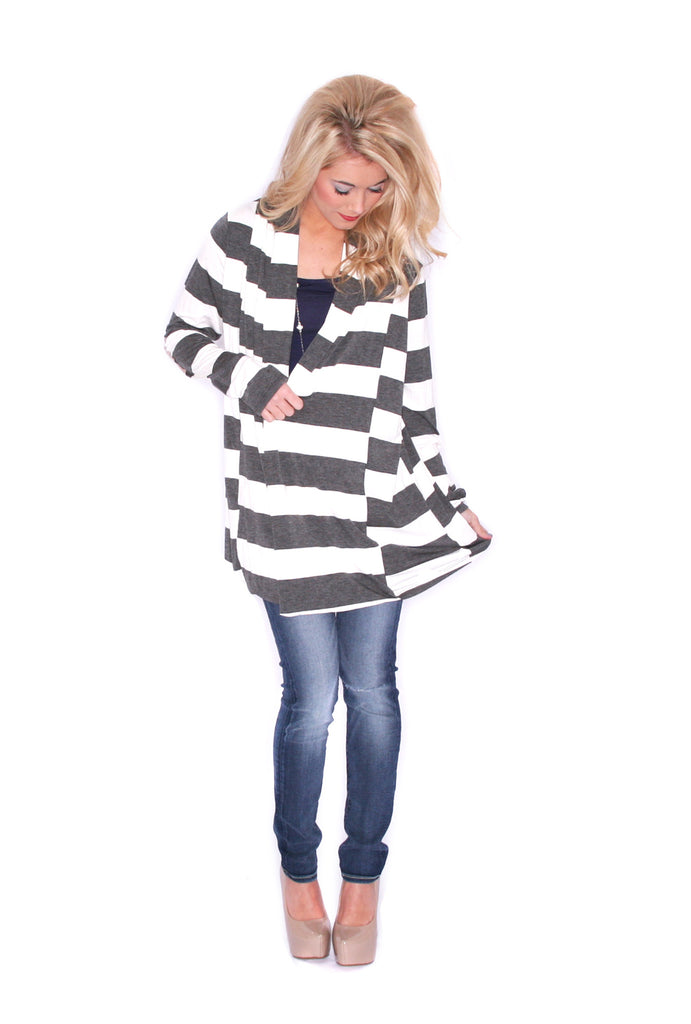 Saturday Stripes Cardi Grey