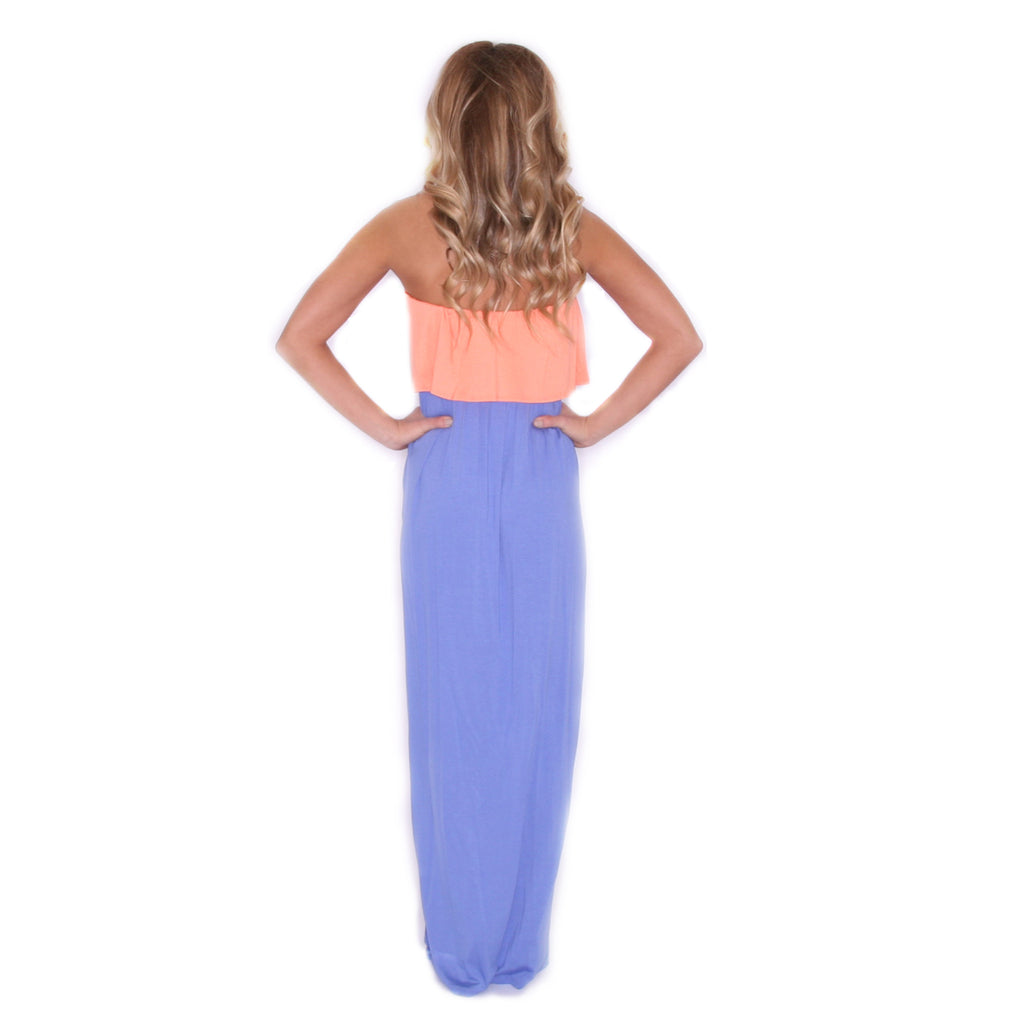 She Is A Vision Maxi in Apricot/Lavender