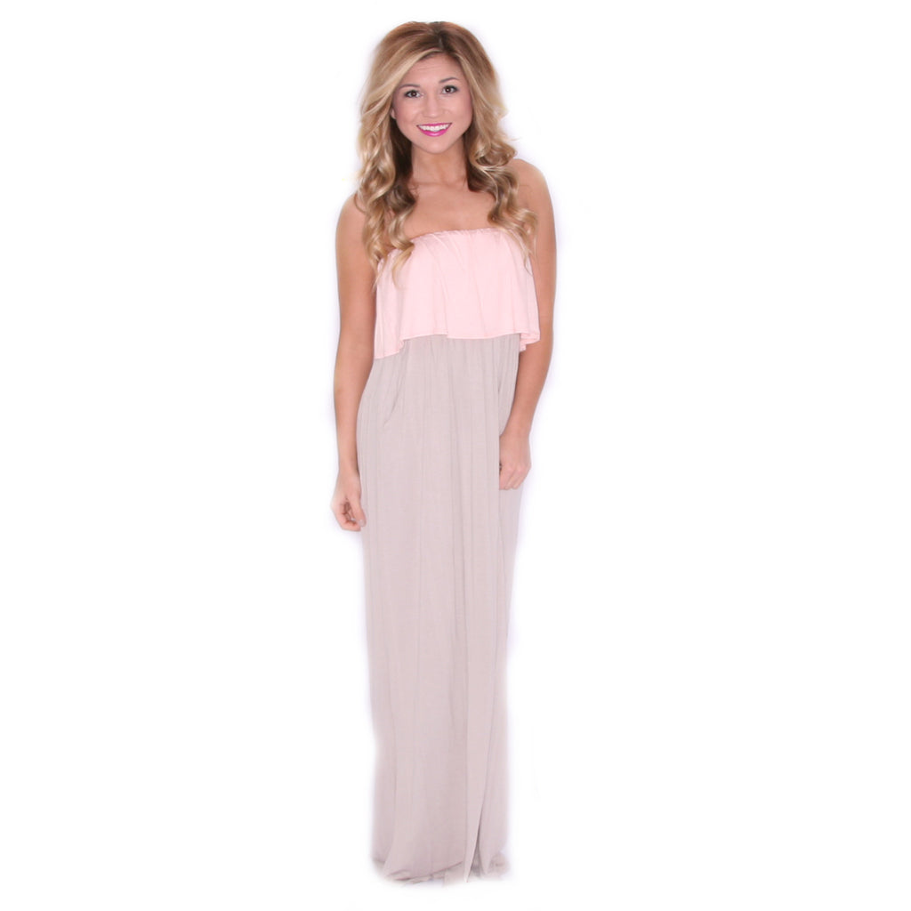 She Is A Vision Maxi in Pink/Taupe