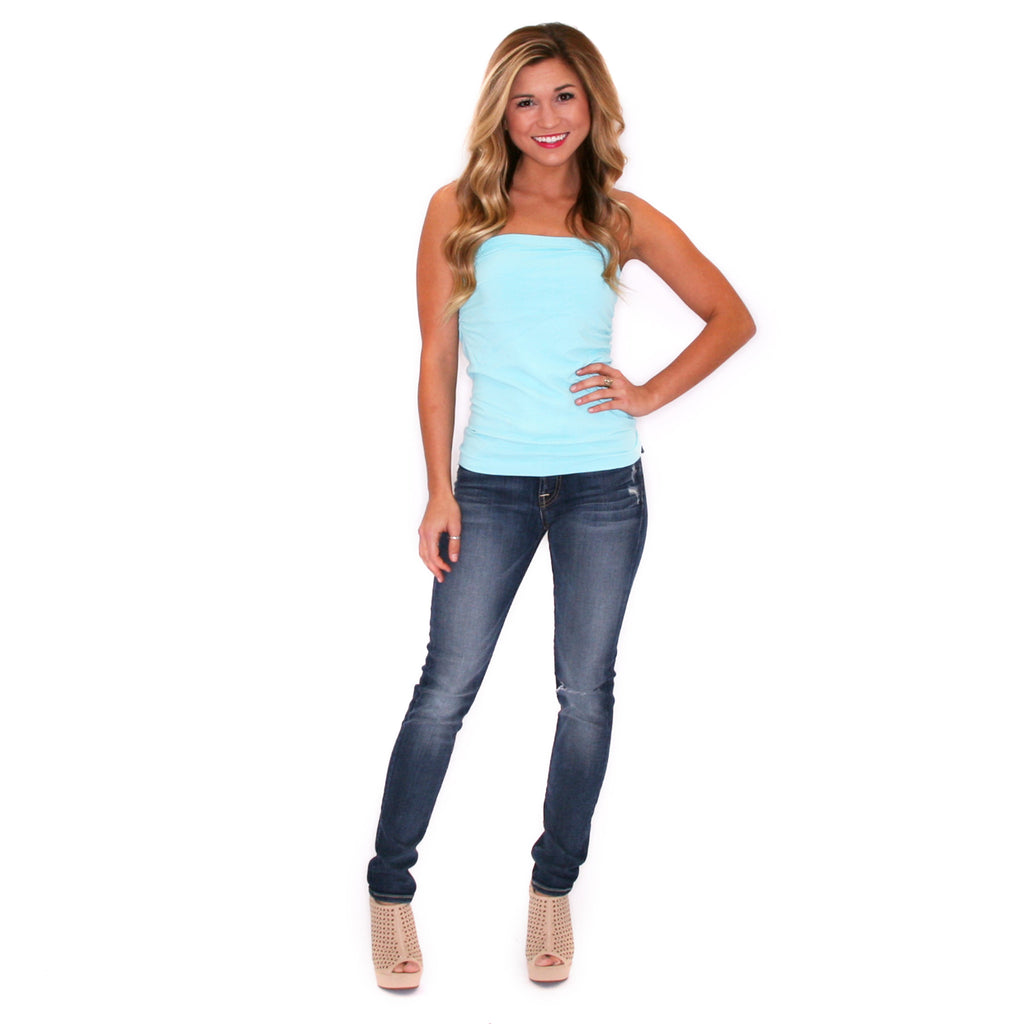 Strapless Seamless Top in Sky Blue