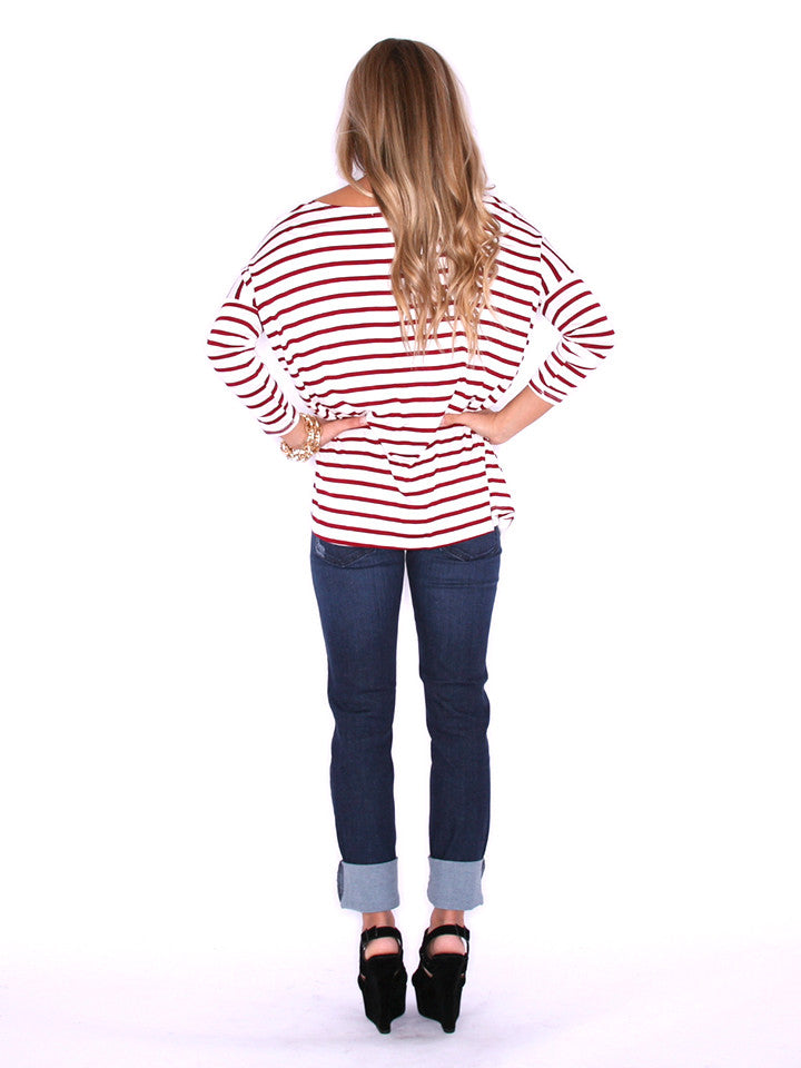 Impressions Perfect Stripe Tee Burgundy