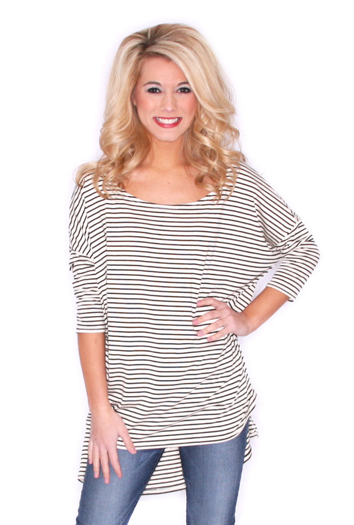 Stripe Crush Tee in Ivory