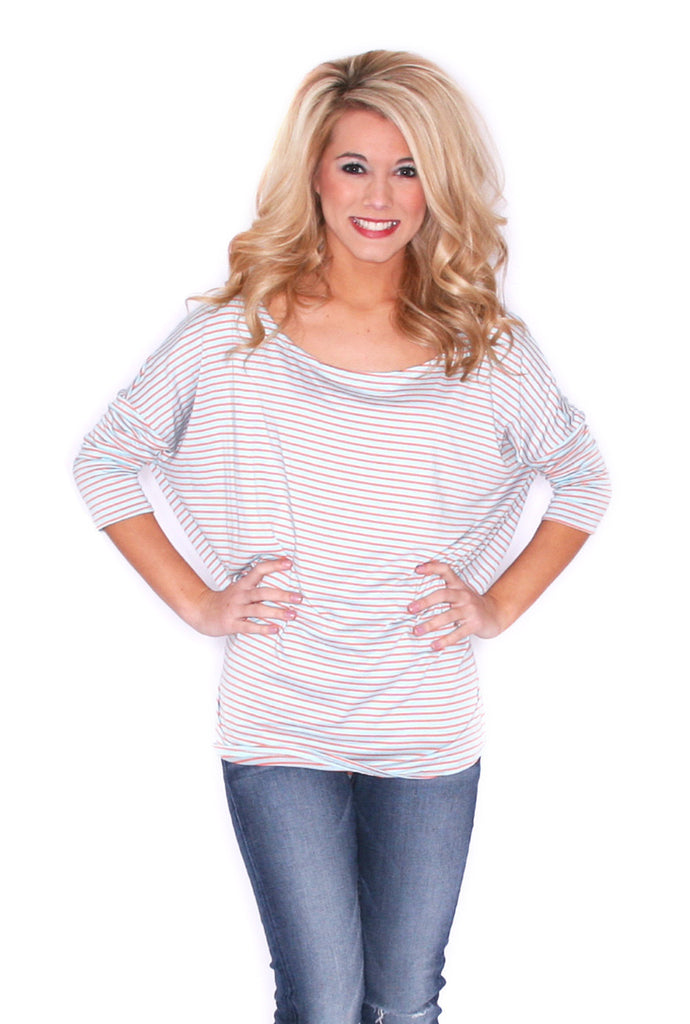 Stripe Crush Tee in Light Blue