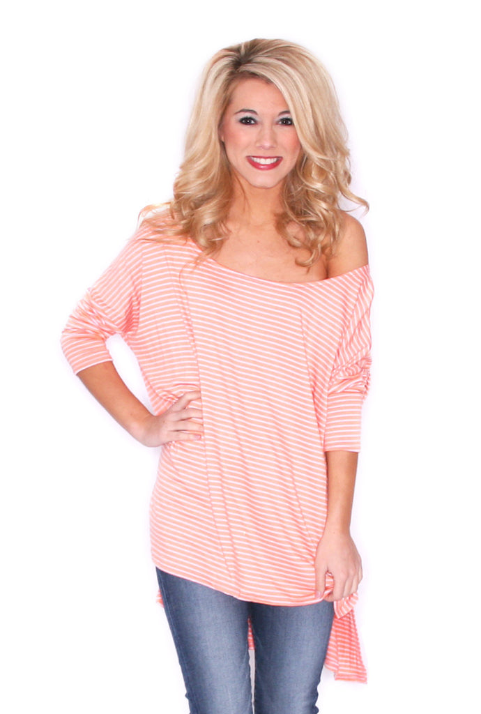 Stripe Crush Tee in Orange