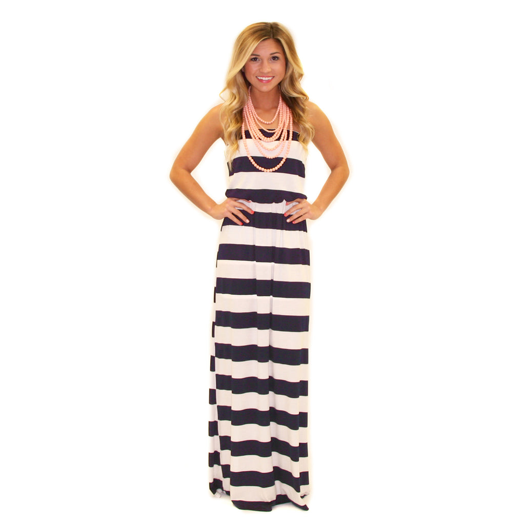 Striped Ambition Maxi Navy