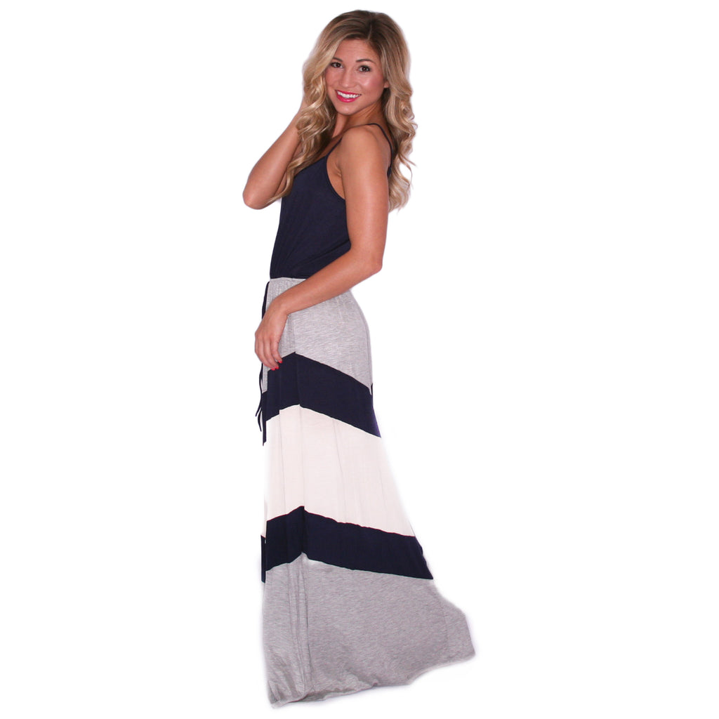 Striped Crush Maxi in Navy