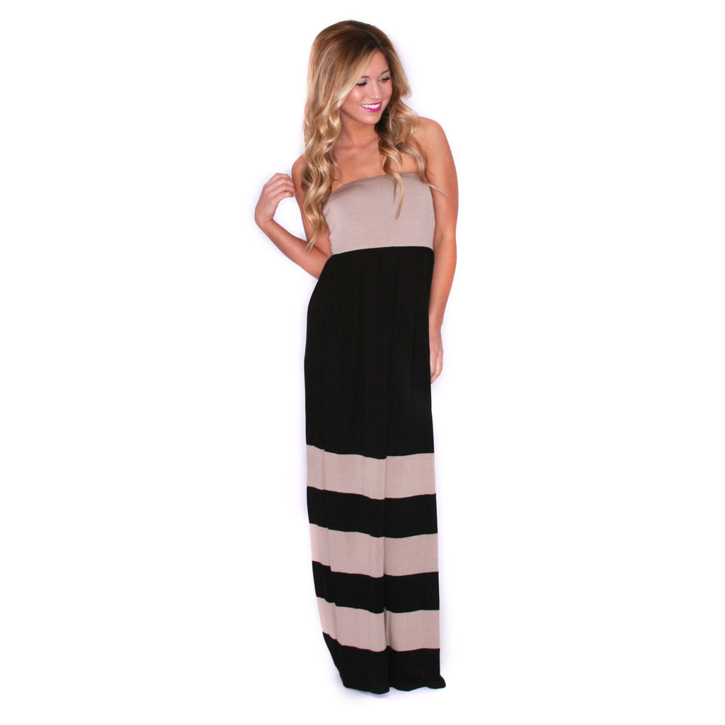 Striped Luxury Maxi Taupe/Black