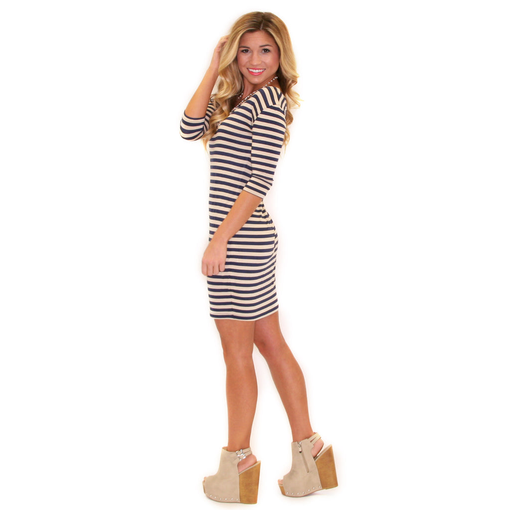 Striped PIKO Dress in Navy/Khaki