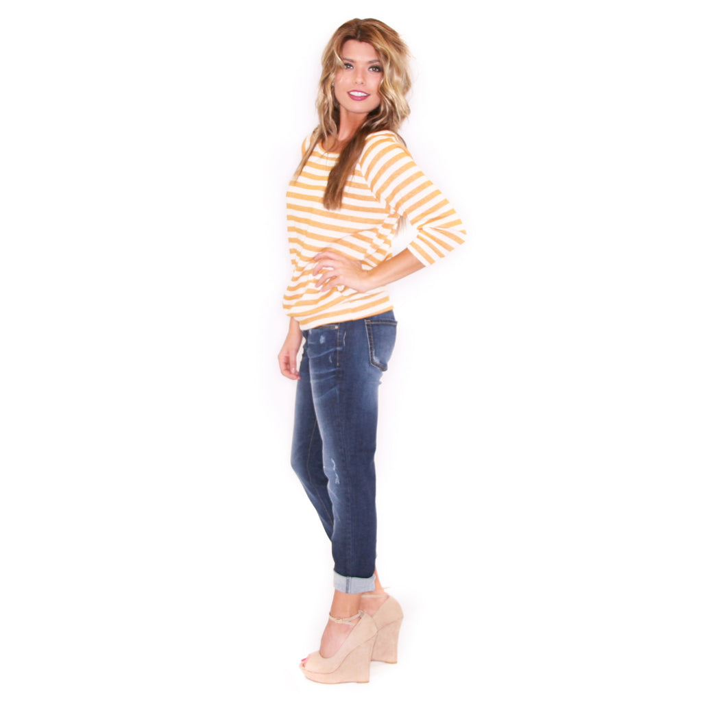 Striped Romance in Mustard