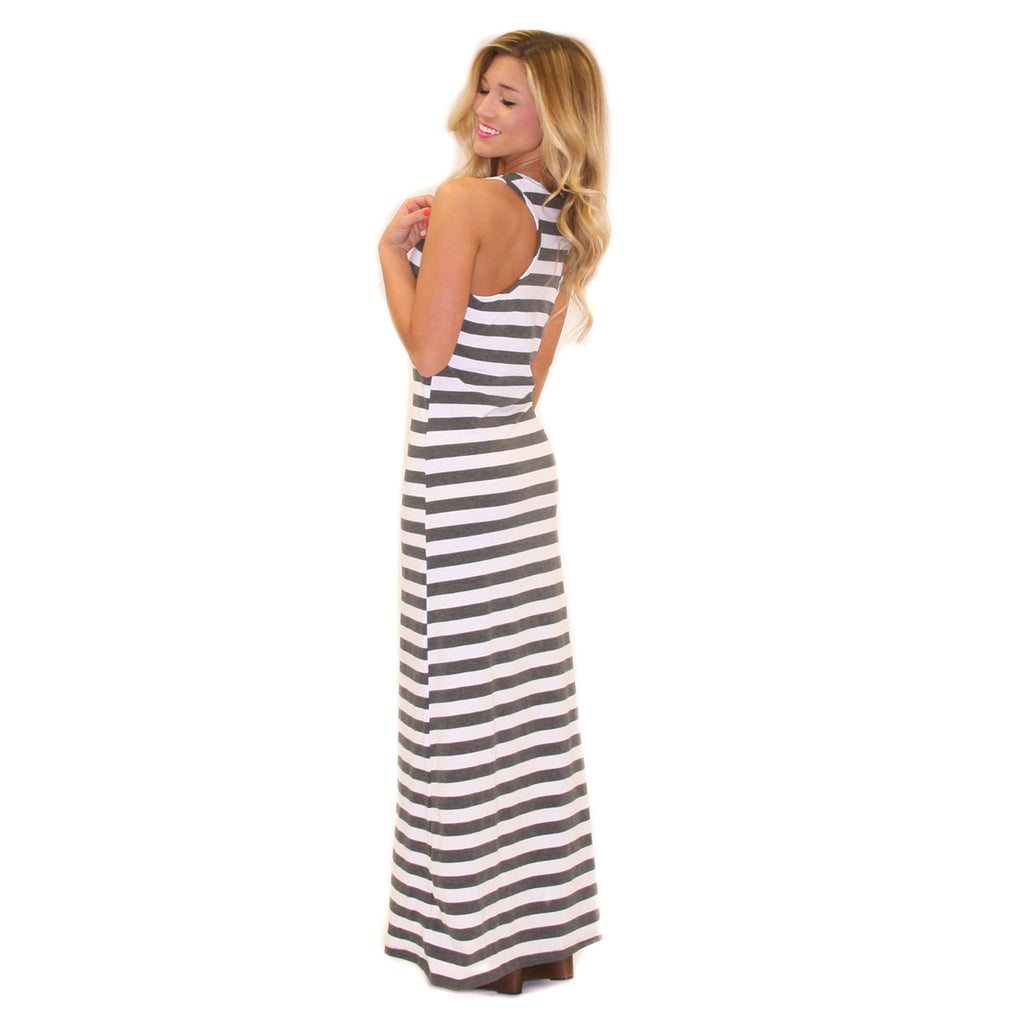 Girl Time Stripe Maxi Grey
