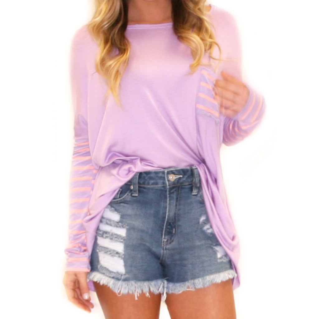Striped Crush Pocket Tee Lavender