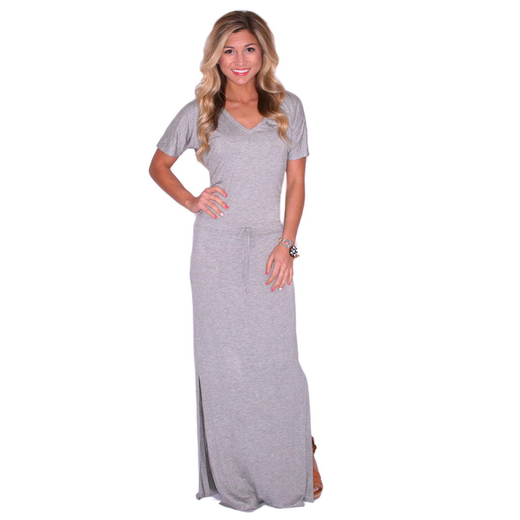 Hot Summer Nights Maxi in Heather Grey