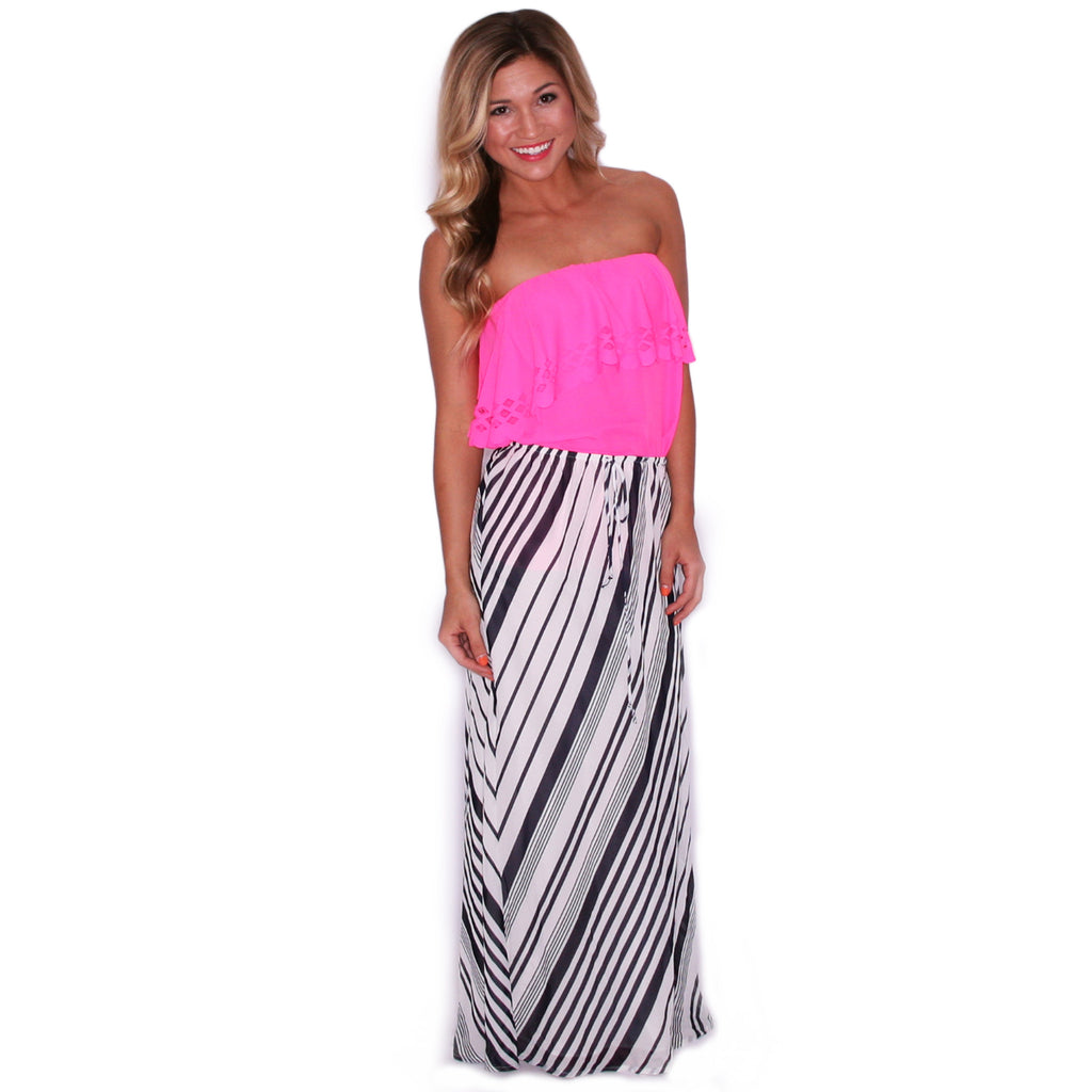 Summer Sunset Strapless Top in Pink