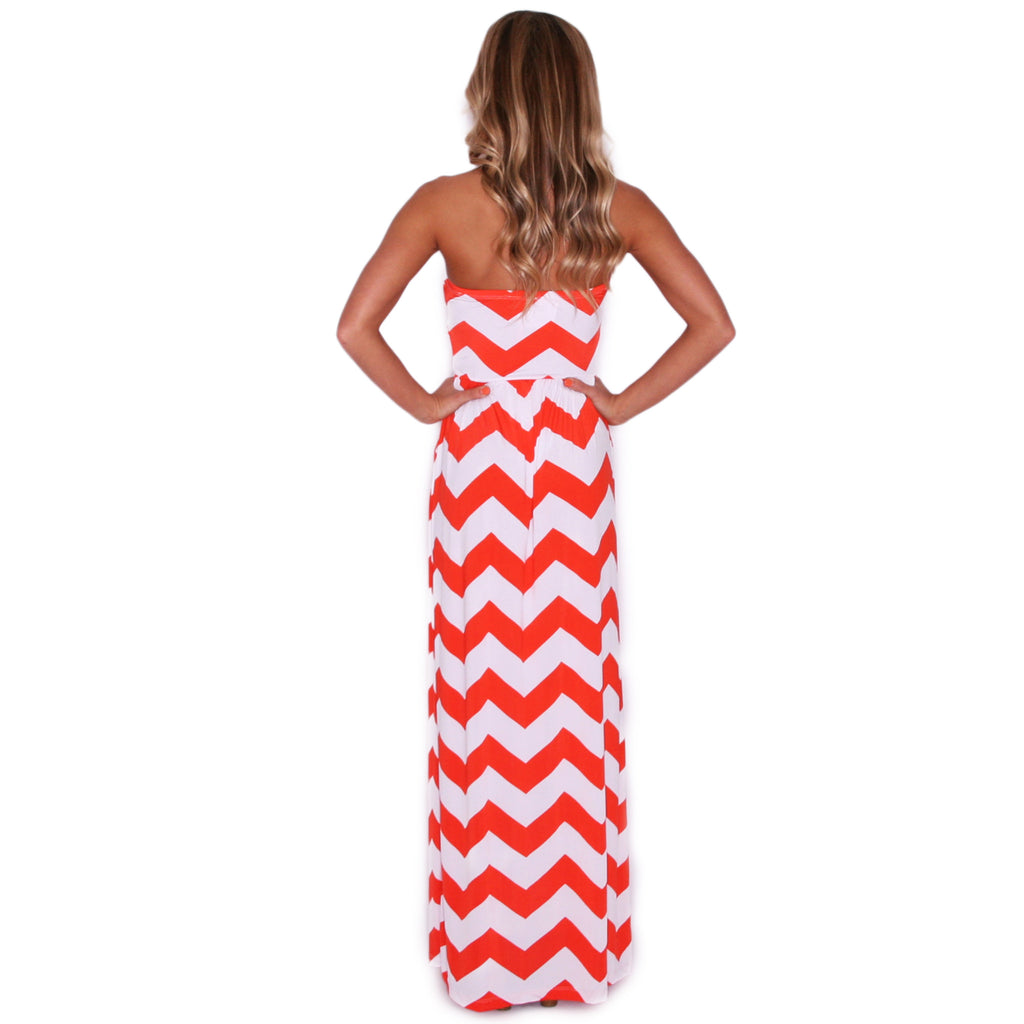 Sunkissed Stripe Maxi in Orange and White