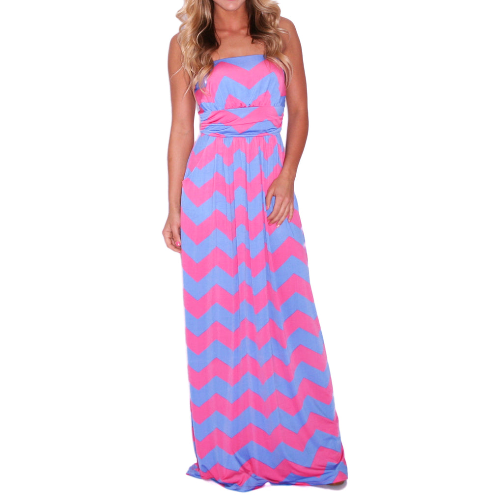 Sunkissed Stripe Maxi in Pink & Blue