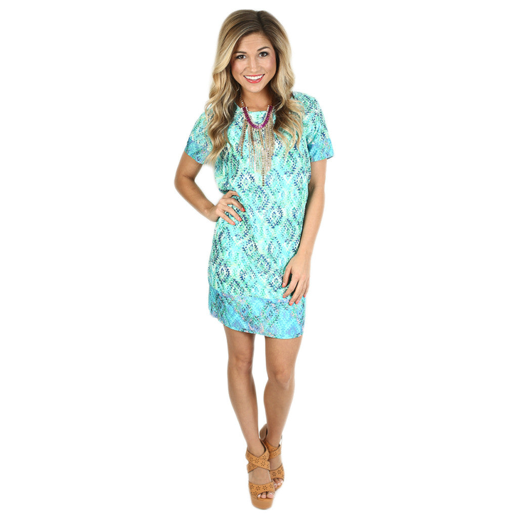 Sunset Meeting Shift Dress in Blue
