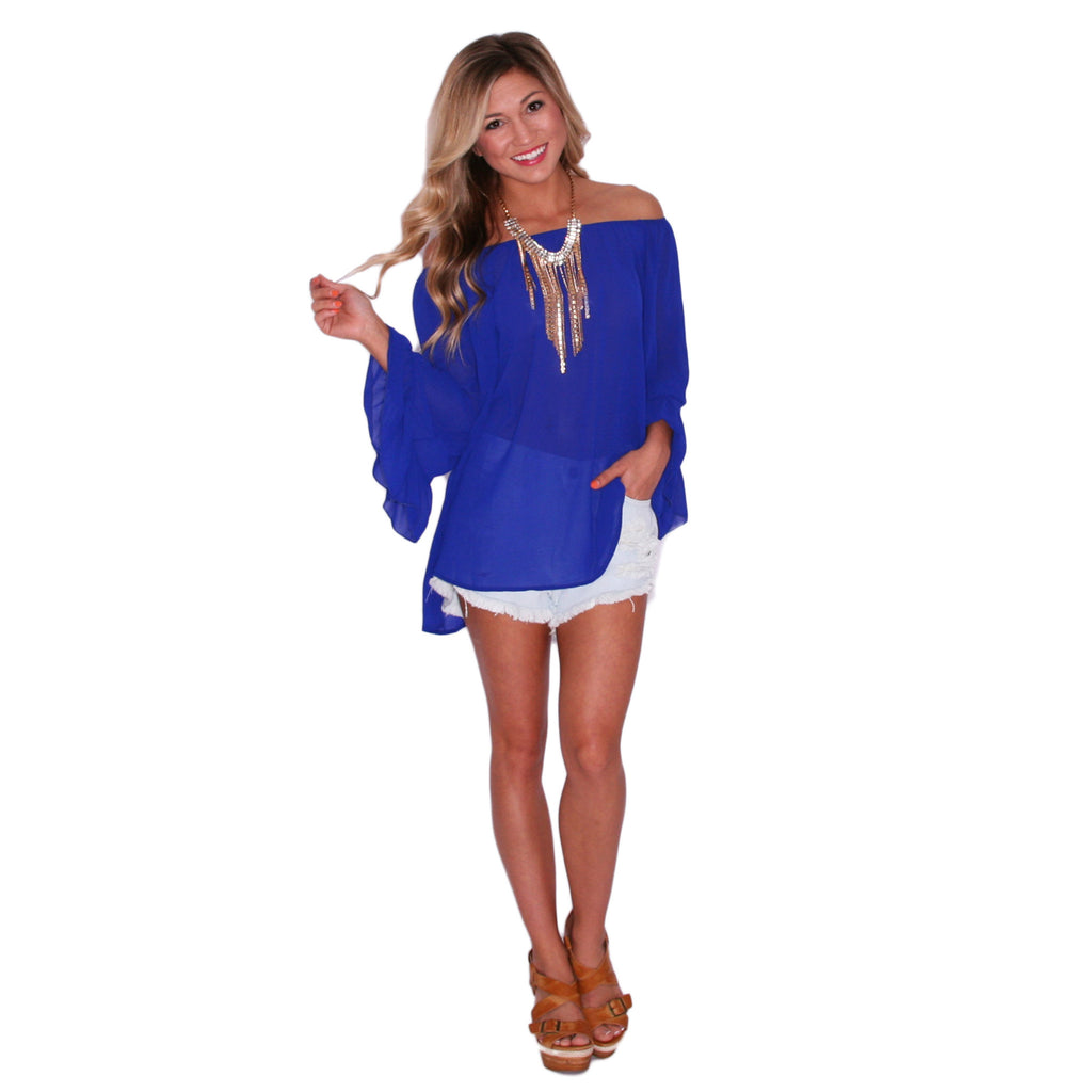 Sweet & Care Free Top in Royal Blue