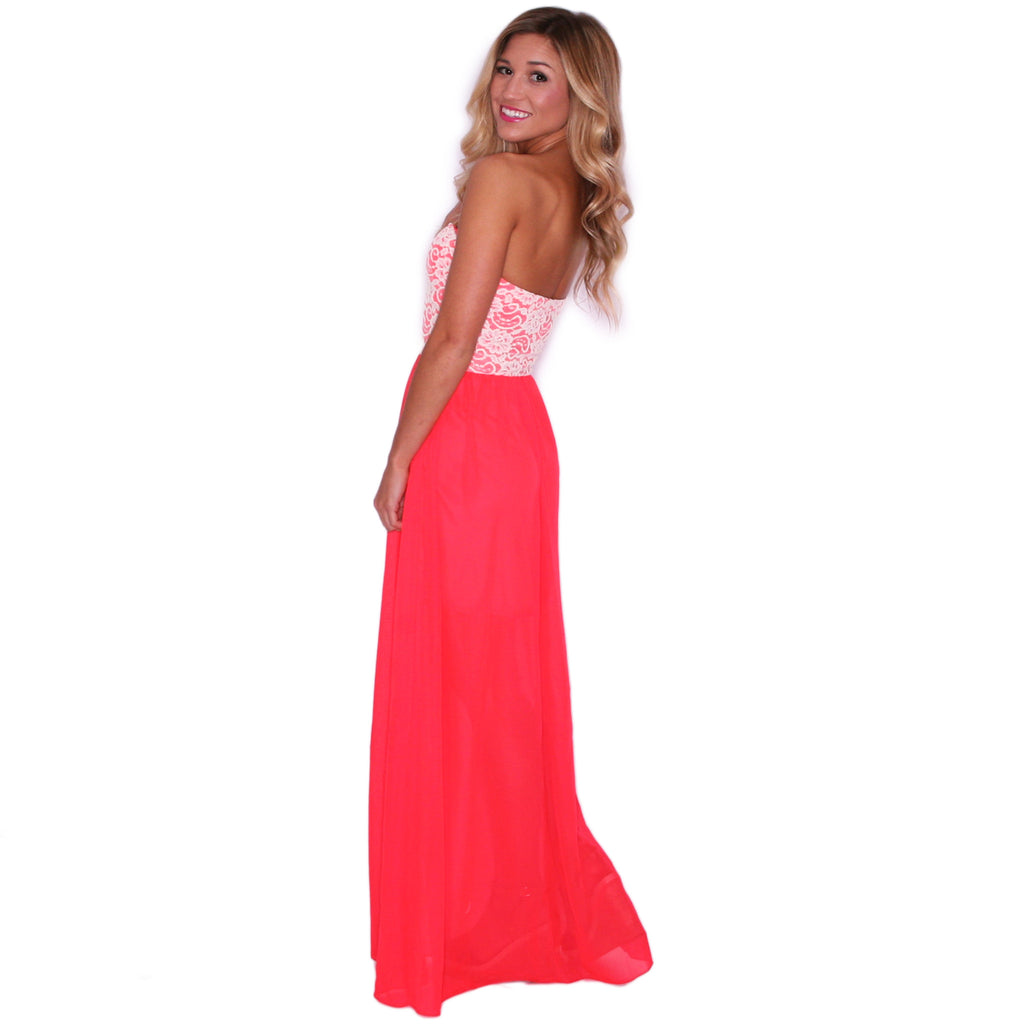 Sweetheart Brunch Maxi in Neon Coral