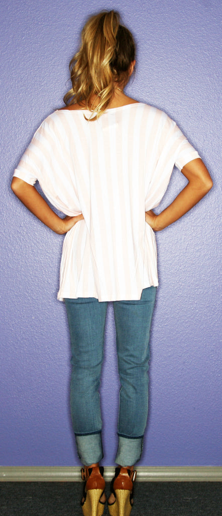 Short Sleeve Tan Stripe PIKO